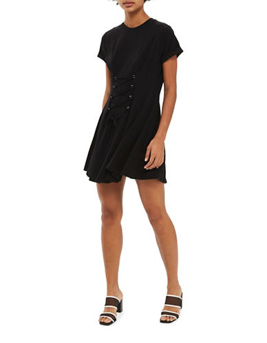 Topshop PETITE Corset Flippy Tunic Dress-BLACK-UK 12/US 8
