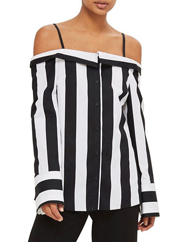 Topshop Humbug Stripe Reworked Bardot Shirt-MONOCHROME-UK 6/US 2