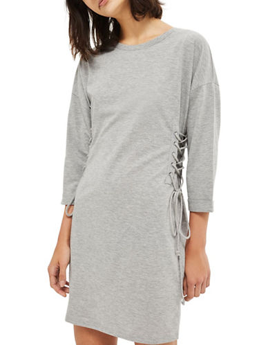 Topshop Lace Up Side Tunic Dress-GREY-UK 8/US 4