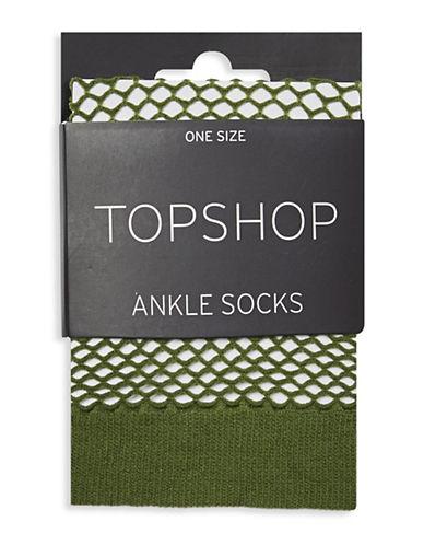 Topshop Fishnet Ankle Socks-KHAKI-1