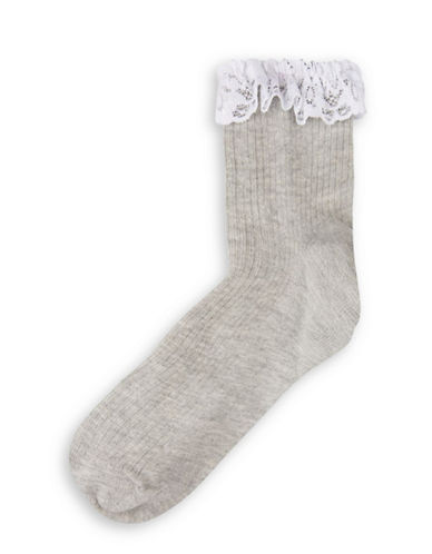 Topshop Lace Trim Ankle Socks-GREY-One Size