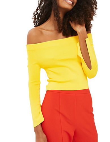 Topshop Bardot Split Sleeve Knit Top-YELLOW-UK 10/US 6