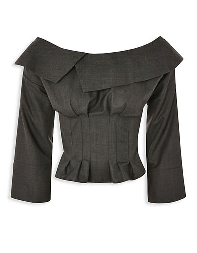 Topshop Tailored Corset Bardot Blouse-GREY-UK 12/US 8