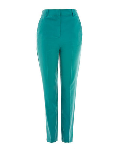 Topshop High Waist Cigarette Trousers-GREEN-UK 10/US 6