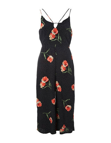 Topshop PETITE Spot and Floral Print Jumpsuit-BLACK/RED-UK 8/US 4