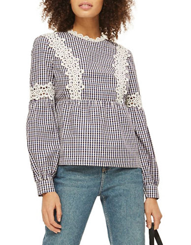 Topshop Lace Trim Gingham Blouse-NAVY-UK 12/US 8