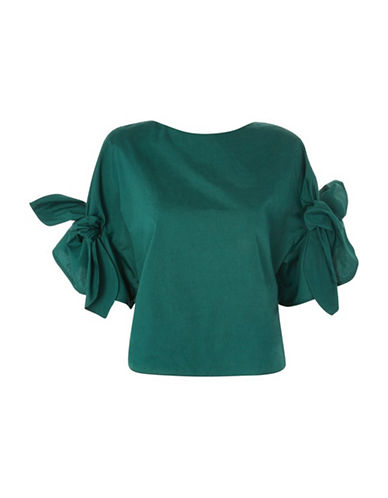 Topshop Bow Sleeve Poplin Top-GREEN-UK 14/US 10