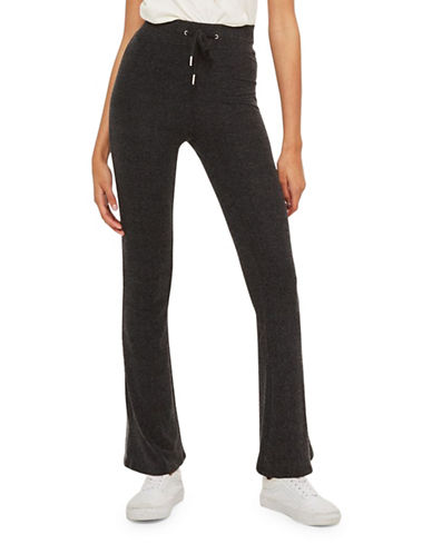 Topshop PETITE Super Soft Flare Trousers-BLACK-UK 8/US 4