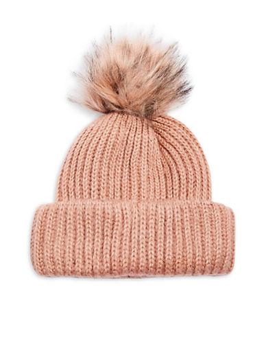 Topshop Faux Fur Pom-Pom Beanie-NUDE-One Size 89551659_NUDE_One Size