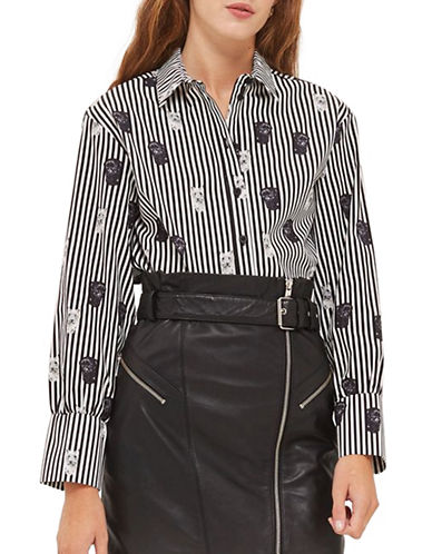 Topshop Pug Print Stripe Shirt-MONOCHROME-UK 12/US 8