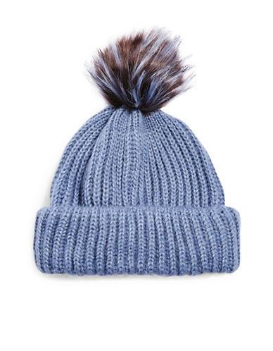 Topshop Faux Fur Pom-Pom Beanie-BLUE-One Size