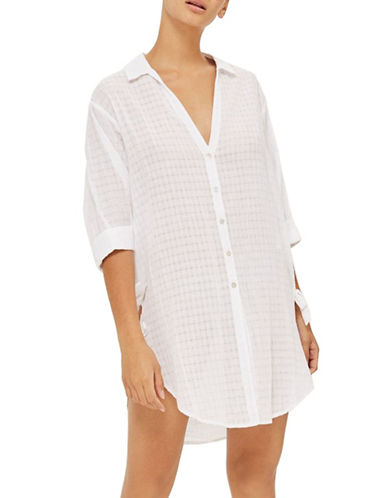 Topshop Jacquard Beach Shirt-WHITE-Medium