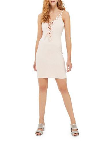 Topshop Go Flower Lace-Up Mini Dress-BLUSH-UK 10/US 6
