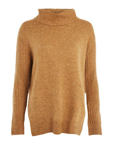 Topshop PETITE Mohair Pointelle Sweater-MUSTARD-UK 10/US 6