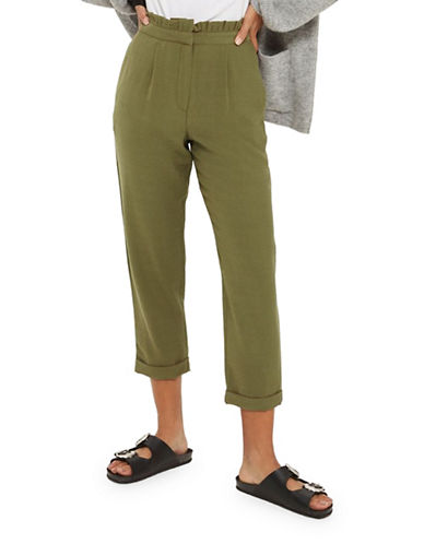 Topshop Ruffled Trousers-GREEN-UK 14/US 10