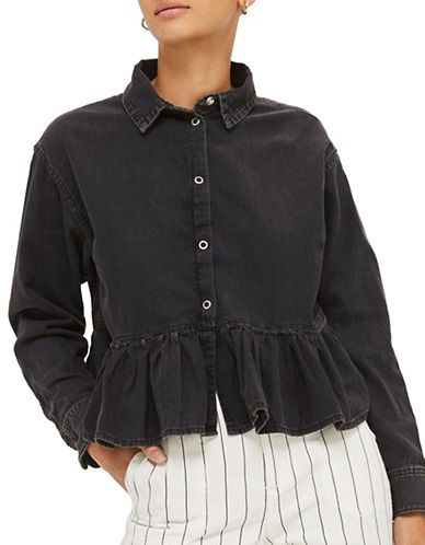 Topshop MOTO Frill Denim Shirt-WASHED BLACK-UK 12/US 8
