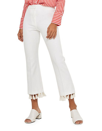 Topshop Tassel Hem Flare Trousers-IVORY-UK 8/US 4