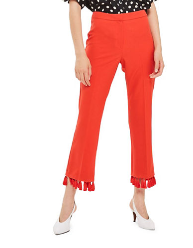 Topshop Tassel Hem Flare Trousers-RED-UK 12/US 8