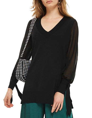 Topshop Chiffon Longline Sweater-BLACK-UK 8/US 4