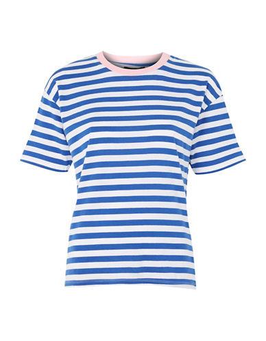 Topshop Stripe Contrast T-Shirt-BLUE-UK 12/US 8
