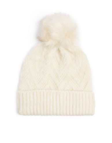 Topshop Zigzag Wool-Blend Tuque-CREAM-One Size