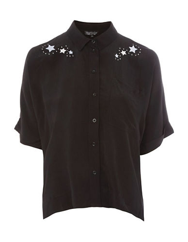 Topshop Space Embroidered Shirt-BLACK-UK 10/US 6