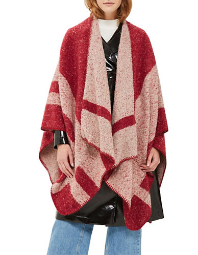 Topshop Colourblock Cape-RED-One Size