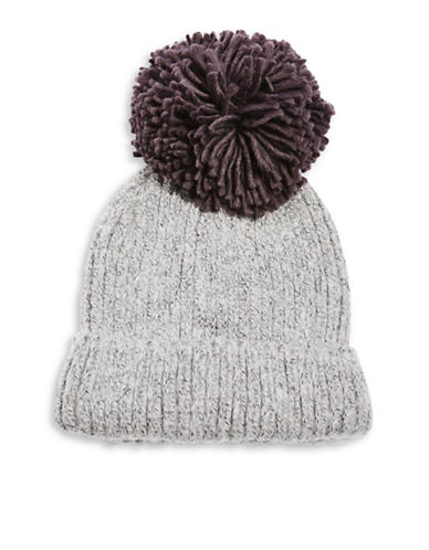 Topshop Pom-Pom Tuque-CHARCOAL-One Size