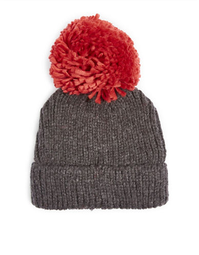 Topshop Big Knit Pom Tuque-RED-One Size