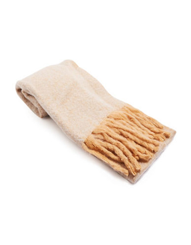 Topshop Brushed Two Tone Scarf-STONE-One Size