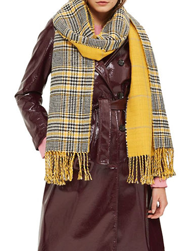 Topshop Checked Double-Faced Scarf-YELLOW-One Size