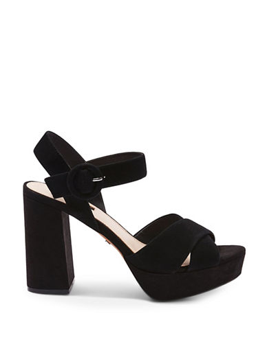 Topshop Luxe Cross Strap Platforms-BLACK-EU 40/US 9.5
