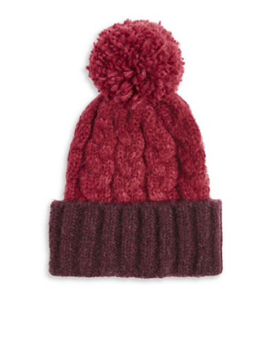 Topshop Two-Tone Wool-Blend Tuque-BURGUNDY-One Size