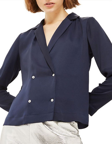 Topshop Satin Pyjama Shirt-NAVY-UK 6/US 2