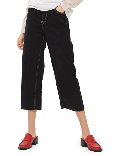 Topshop MOTO Contrast Stitch Cropped Wide Leg Jeans-WASHED BLACK-28X30