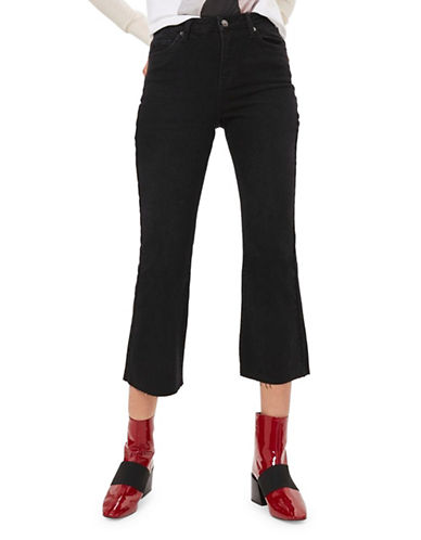 Topshop MOTO Dree Cropped Kick Flare Jeans 30-Inch Leg-WASHED BLACK-30X30