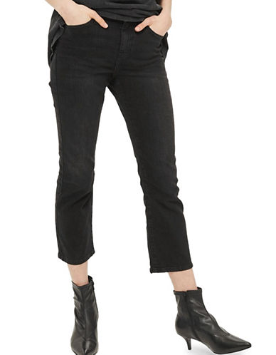 Topshop MOTO Dree Cropped Kick Flare Jeans 32-Inch Leg-WASHED BLACK-28X32