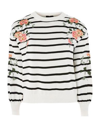 Topshop Embroidered Stripe Sweatshirt-IVORY-UK 10/US 6