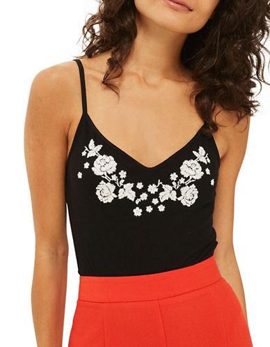 Topshop PETITE Embroidered Bodysuit-BLACK-UK 10/US 6