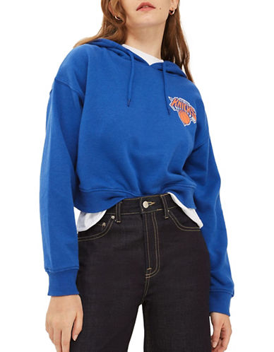 Topshop NY Knicks Crop Hoodie by UNK-COBALT-X-Small