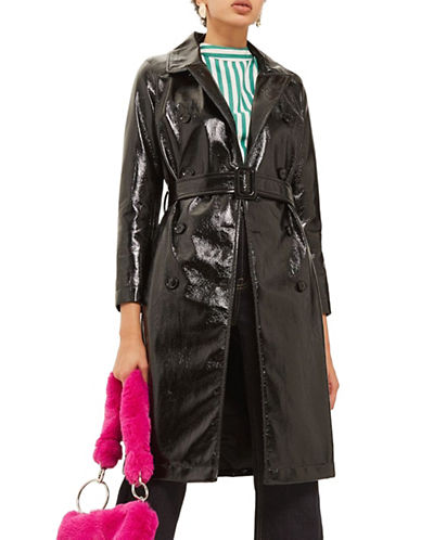 Topshop Vinyl Trench Coat-BLACK-UK 8/US 4