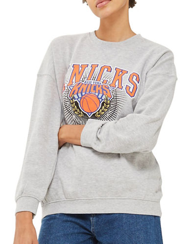 Topshop New York Knicks Sweatshirt by UNK-GREY-Large
