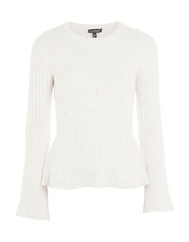 Topshop Knit Peplum Sweater-OATMEAL-UK 10/US 6