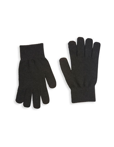 Topshop Core Knit Gloves-BLACK-One Size