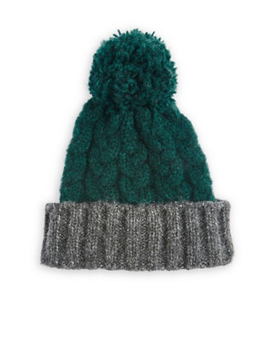 Topshop Two-Tone Wool-Blend Tuque-GREEN-One Size