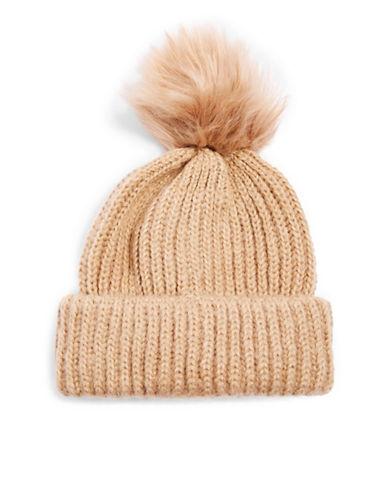Topshop Faux Fur Pom Pom Tuque-CAMEL-One Size