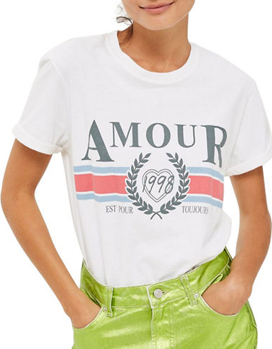Topshop Amour Slogan T-Shirt-WHITE-Small