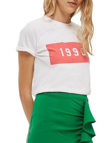 Topshop 1990 Printed Tee-WHITE-Small
