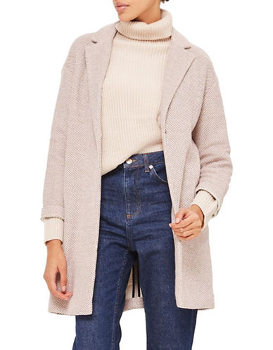 Topshop Textured Knit Coat-NUDE-UK 8/US 4