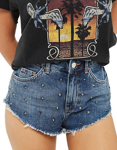 Topshop MOTO Studded Frayed Hem Kiri Shorts-DENIM-UK 12/US 8